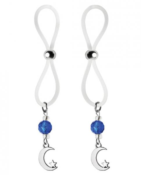 Bijoux De Nip Nipple Halos Moon & Star Charm Blue Clear