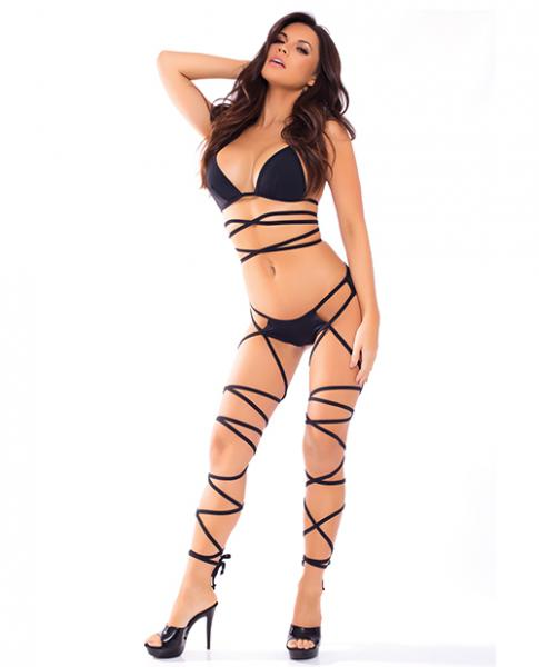 Lace Up Lover Bra Set Black S/m