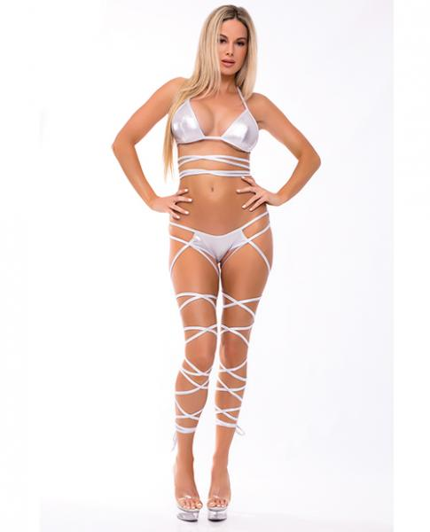 Lace Up Lover Bra Set Silver S/M