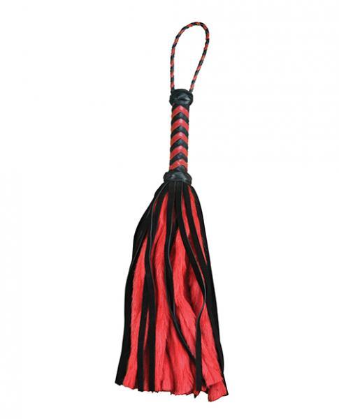"""Plesur 17"""" Suede & Fluffy Faux Fur Tails - Black/red"""
