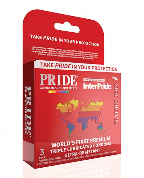 Pride Feather Thin Latex Condoms Pack Of 3