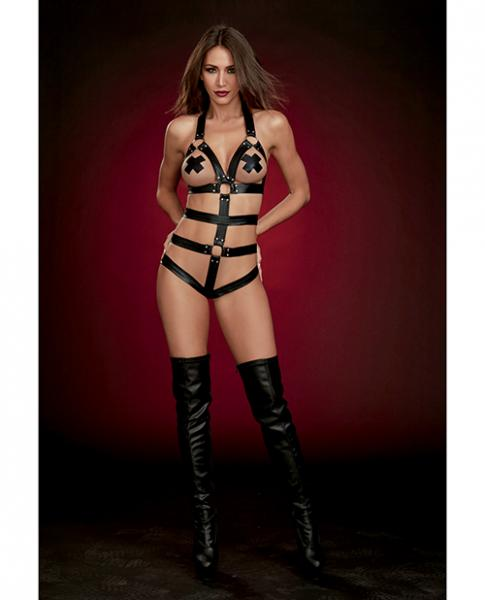 Fetish Strappy Faux Leather Teddy W/attached Wrist Restraints Black O/s