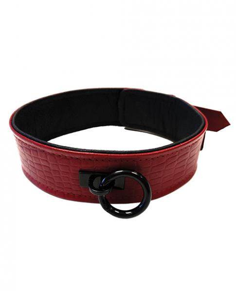 Rouge Plain Leather Collar Burgundy Red