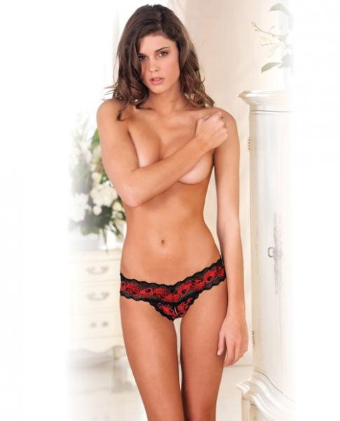 Crotchless Lace V Thong Red Black S/M