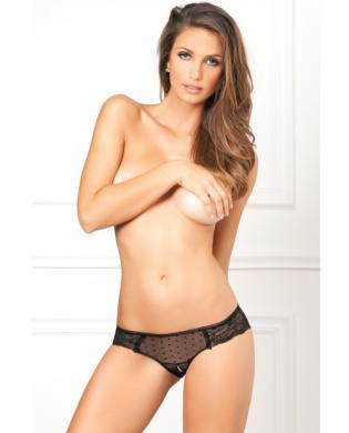 Rene Rofe Crotchless Lace N Dots Panty Black M/L