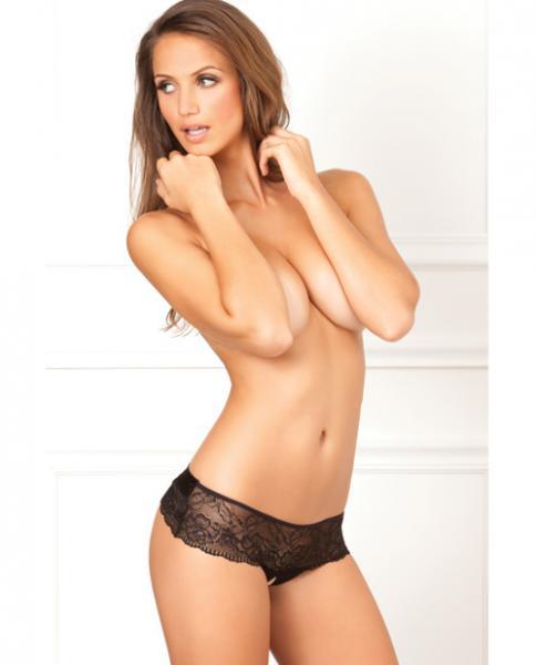 Crotchless Lace Bow Back Panty Black M/L