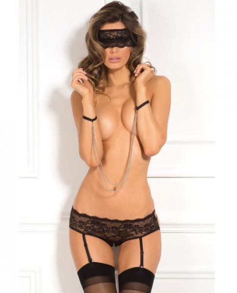 Rene Rofe Crotchless Panty, Mask & Chain Cuffs Black S/M