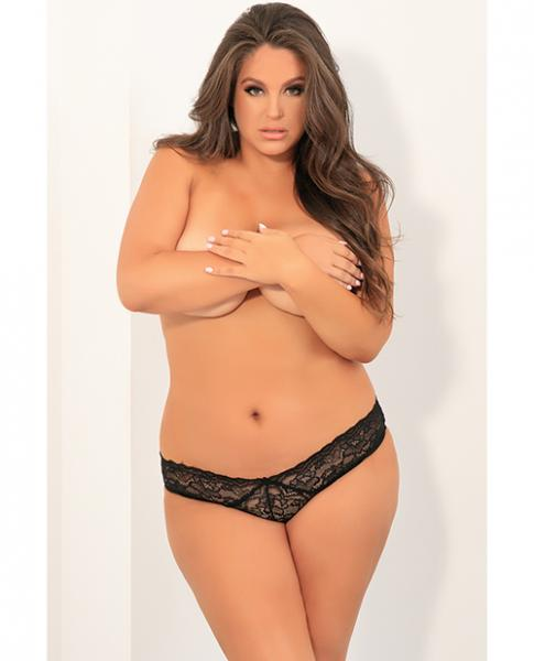 All Tied Up Open Back Panty Black 1x/2x