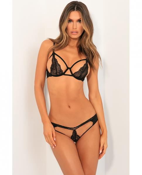 Rene Rofe Part Ways Bra & Panty Set Black M/L