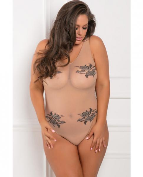 Rene Rofe Romantic Undertones Bodysuit Nude 1X