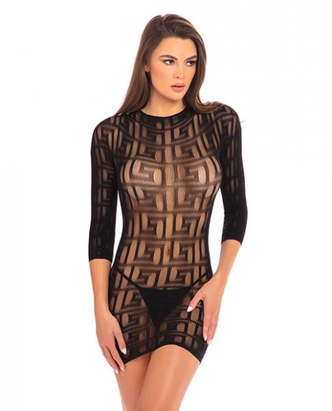 Rene Rofe Exotic Geometry Mini Dress Black M/L