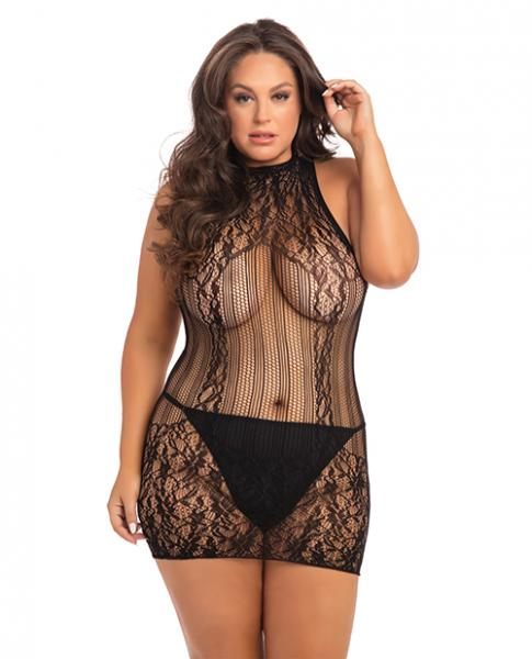 Rene Rofe Reckless Lace Mini Dress Black 1X/3X