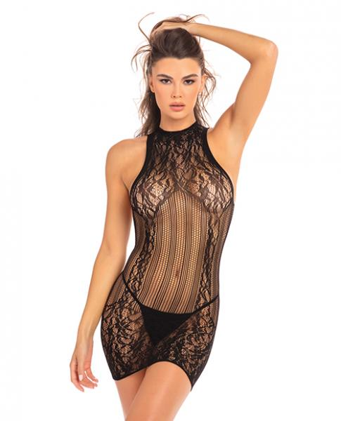 Rene Rofe Reckless Lace Mini Dress Black O/S