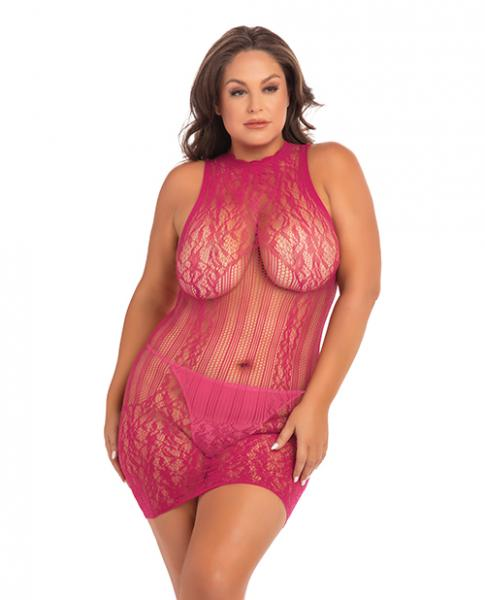 Rene Rofe Reckless Lace Mini Dress Sangria Red 1X/3X