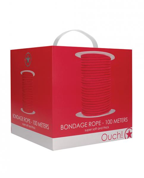 Shots Ouch Bondage Rope - 100 Meters - Red