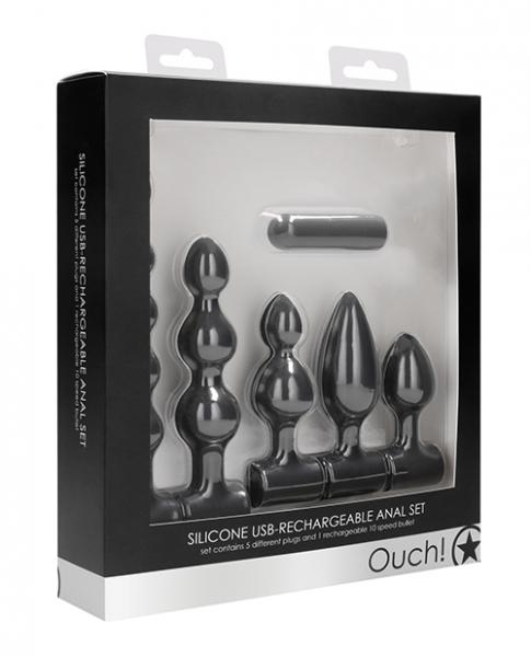Shots Ouch Silicone Usb Rechargeable Anal Set - Black