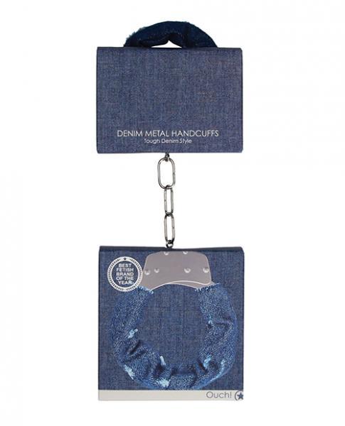 Shots Ouch Denim Metal Handcuffs - Blue