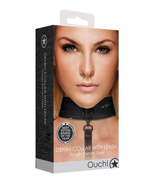 Shots Ouch Denim Collar W/leash - Black