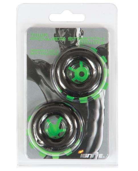 Thick Power Stretch Donuts Black 2 Pack Rings