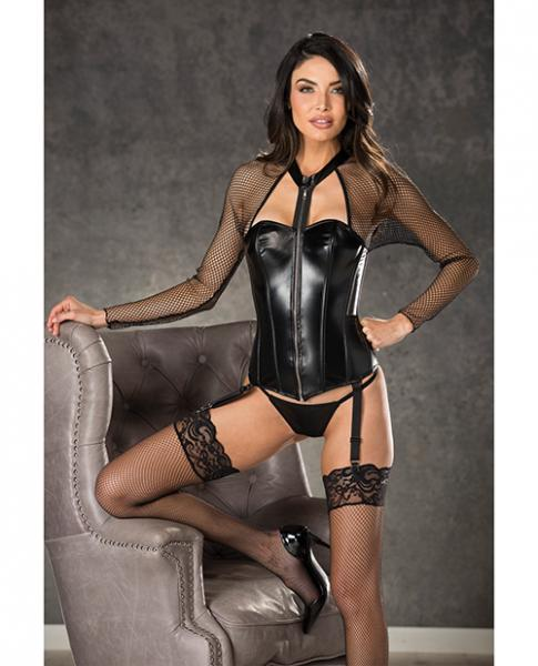 Fishnet Faux Leather Corset Zipper Front, Garters & G-String Black 34