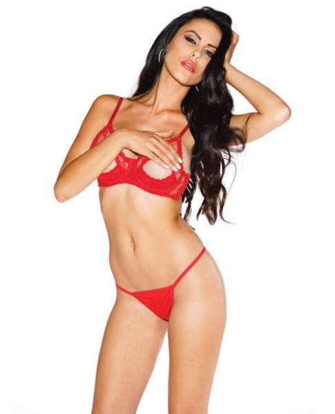 Lace Underwire Open Tip Bra Red 34