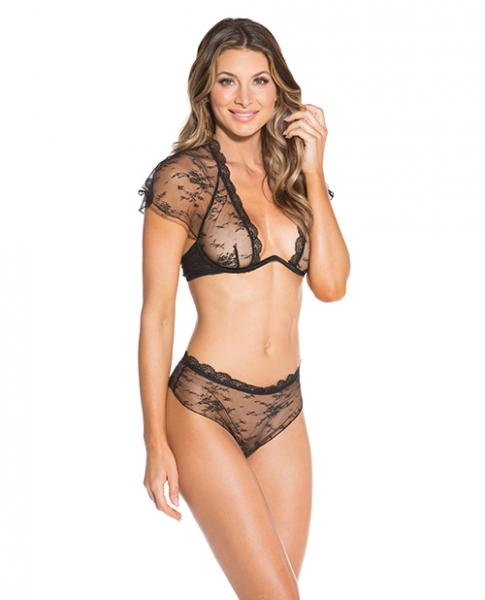 Sheer Lace  Bra & Panty Black 2X