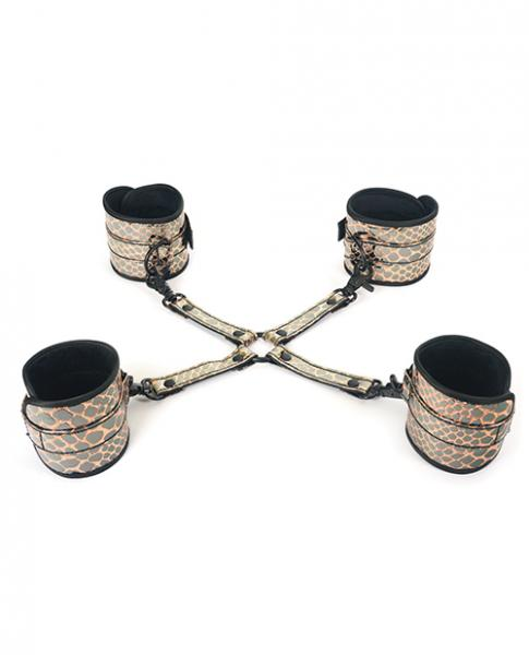 Spartacus Faux Leather Wrist, Ankle Restraints & Hog Tie Gold