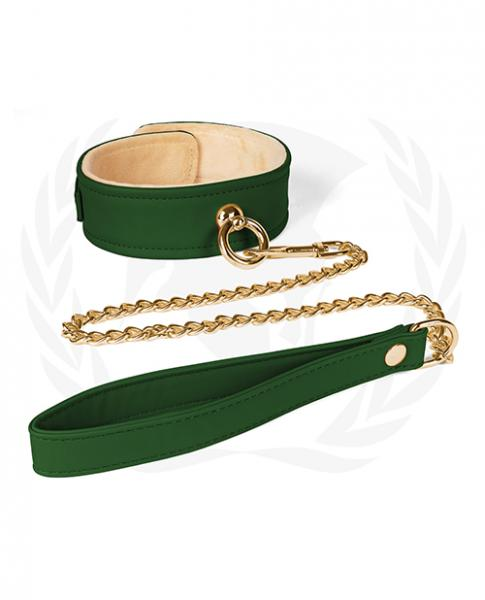 Spartacus Plush Lined Pu Collar & Chained Leash - Green