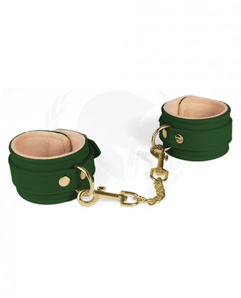Spartacus Pu Ankle Cuffs W/plush Lining - Green
