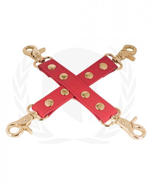 Spartacus Pu Hog Tie W/gold Hardware - Red