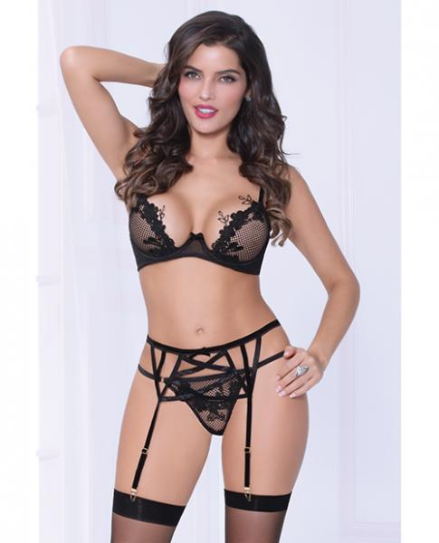 Netting Bra Lace Applique, Garter Belt & Thong Black XL