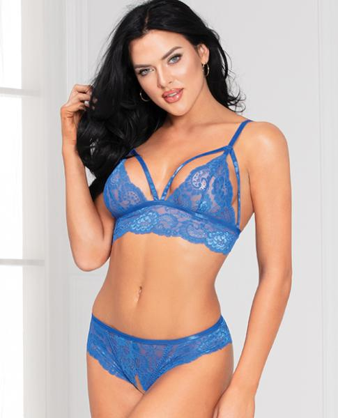 Lace Bra & Open Crotch Panty Lace-Up Back Blue O/S