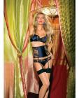 Lace Satin Bra, Thong, Waist Cincher & Garters Navy M   Sex Toy Product