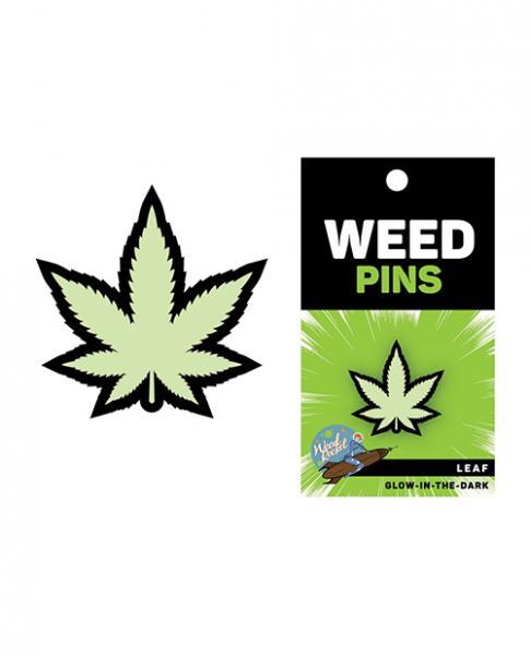 Wood Rocket Weed Pot Leaf Pin - Glow In The Dark