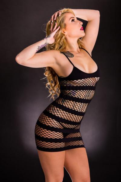 Naughty Girl Tank Dress Horizontal Stripes Black O/S