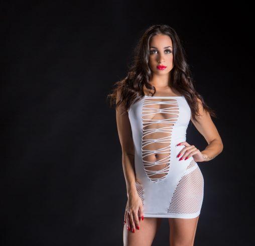 Naughty Girl Spaghetti String Dress O/s White (net)