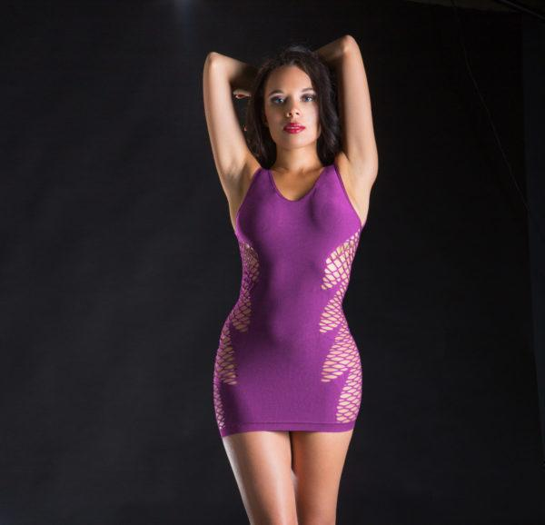 Naughty Girl Spaghetti String Dress Wild Leaf Purple O/s (net)