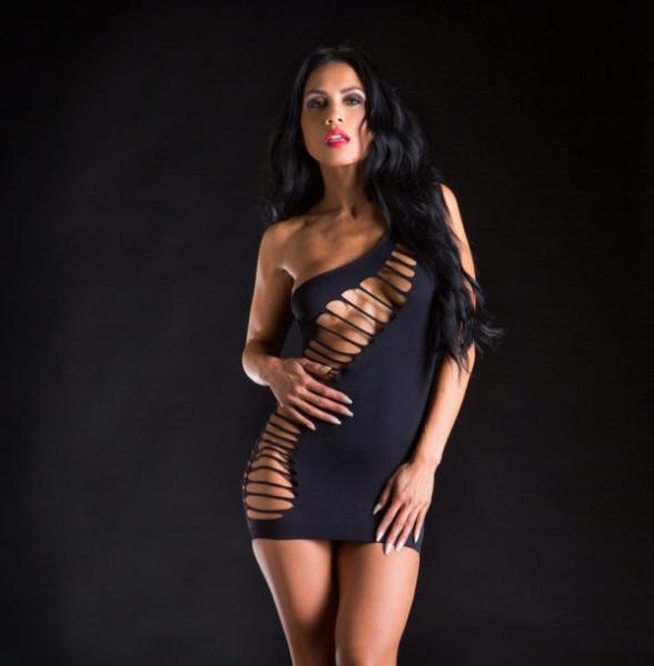 Naughty Girl One Shoulder Dress W/ Holes O/s (net)