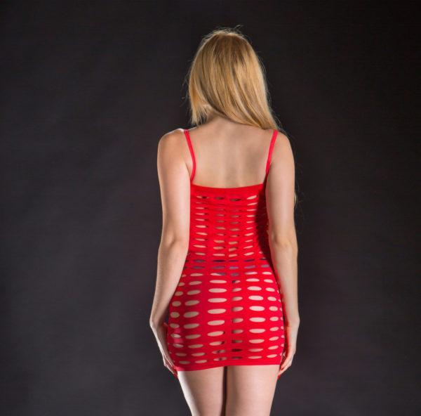 Naughty Girl Spaghetti String Dress Butt Poster Red O/s (net