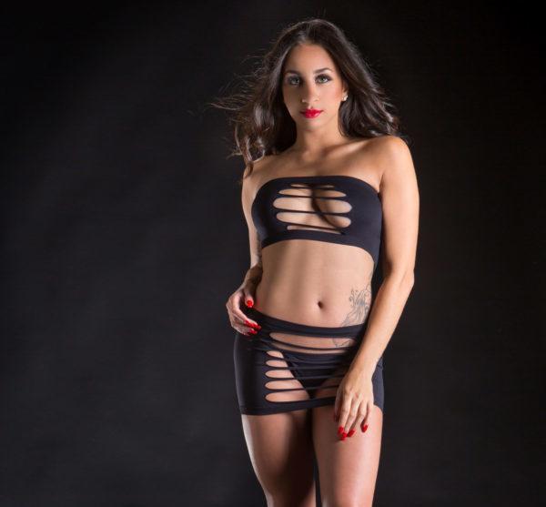 Naughty Girl 2 Piece Top & Skirt O/S Black