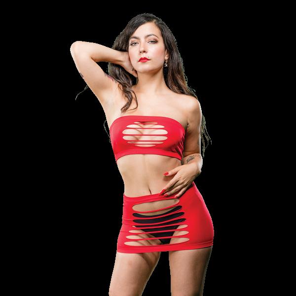 Naughty Girl 2 Piece Top & Skirt O/S Red