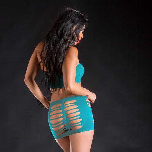 Naughty Girl 2 Piece Top & Skirt O/S Turquoise