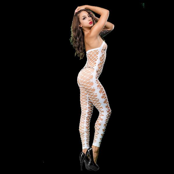 Naughty Girl Mesh Jumper White O/S