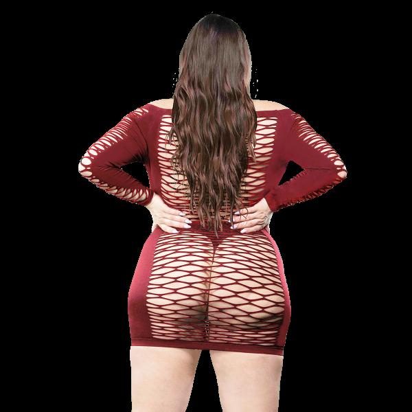 Naughty Girl Long Sleeves Mesh Dress Red Q/S