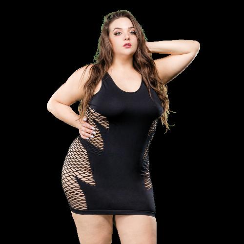 Naughty Girl Wild Leaf Dress Black Q/S