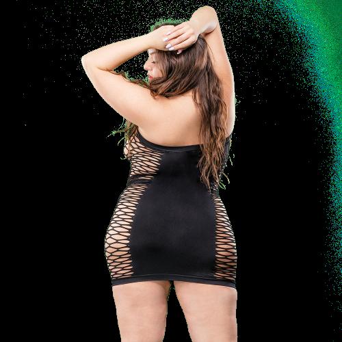 Naughty Girl Solid Mesh Tube Dress Black Q/S