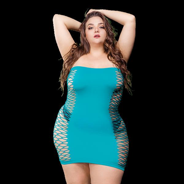 Naughty Girl Solid Mesh Tube Dress Blue Q/S