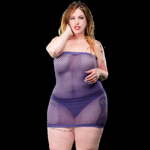Naughty Girl Mesh Tube Dress Violet Q/S