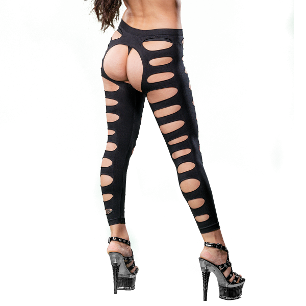 Naughty Girl Sexy Leggings Variegated Holes Black O/S