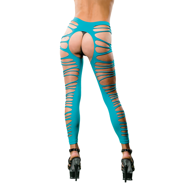Naughty Girl Sexy Leggings Side Straps Blue O/S